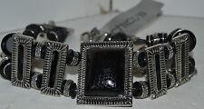 "Vintage Silver Black Bead Stretch Belt Original 99.00 NWT 38"""