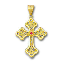 Cross Pendant with Gemstone - A 18K Solid Gold Filigree Latin Budded