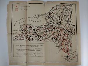 NEW YORK MAP 1900 HYDROLOGY George RAFTER Water Rights RESERVOIRS Ramapo NYC