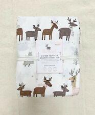 Pottery barn Kids Organic Flannel Winter Reindeer Sheet Set Queen Brown Holiday