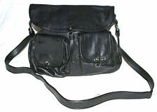 St Sulpice Black Pebbled Leather Crossbody Bag with Adjustable Strap