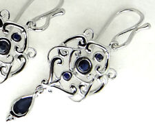 E104 Genuine 9ct White Gold NATURAL Sapphire Drop Dangle Earrings Filigree