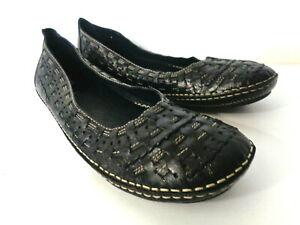 BASS Mimi US 8M Black Woven Leather Ballet Flats Shoes