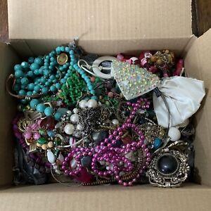 Approx 2KG Boxed Weight BROKEN Costume Jewellery Job Lot / Bundle Harvest Craft