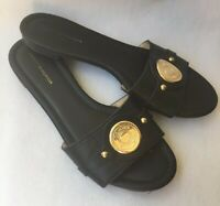 Tommy Hilfiger Womens Black Gold Logo Slide Sandals Size 8.5