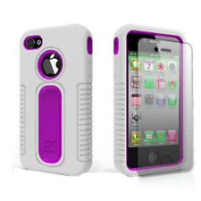 For iPhone 4 4S Rubberized IMPACT Duo Shield Hard Case Phone Cover White Purple