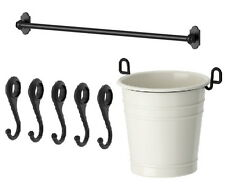 "IKEA steel rail 31"" + 5 hook + cutlery caddy kitchen utensil storage set FINTORP"