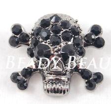 Crâne & crossbones noir/black goth grande cristal strass bouton tige
