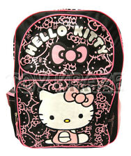 "HELLO KITTY BACKPACK! BLACK GLITTER PINK FACES LOGO SCHOOL BAG SANRIO 16"" NWT"