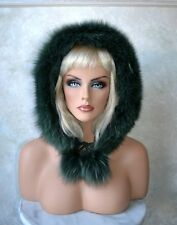 GREEN  HAT / HOOD for Jacket or Coat, REAL FOX FUR TRIM  3-18