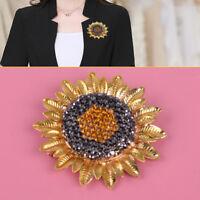 Fashion Crystal Rhinestone Sunflower Brooch Pin Sparkling Women Jewelry