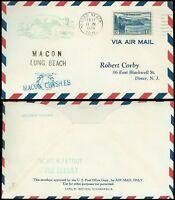 2/12/35 USS Macon FATOUT Cachet, MACON CRASHES Surcharge, Long Beach Cal. Cancel