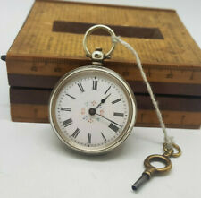 ANTIQUE SMALL SOLID SILVER POCKET WATCH 37 MM. WITH KEY