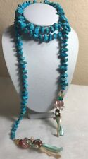 Vintage Turquoise Crystal, Mother of Pearl, Pearl, Stone Lariat Necklace~ 44""