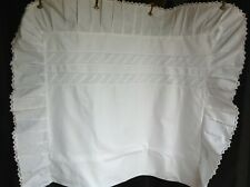 More details for rare pair vintage extra large pillow cases with deep pleated edging & lace trim