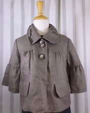 Kira Plastinina Crop Jacket  size X-Small 3/4 flare sleeve Brown Check New