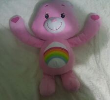"19"" Cheer Care Bear Rainbow Plush Doll Toy Velcro Heart Hands 2012 (127)"