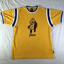 Disney X Forever 21 Pluto Men's L Size Large T shirt Yellow Blue White EUC Tee