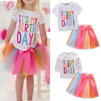 2Pcs Kids Baby Girls Birthday Outfit Set T-shirt Tops + Rainbow Party Tutu Dress