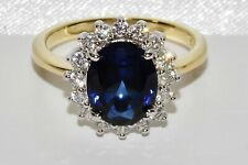 9ct Yellow Gold & Silver Blue Sapphire Princess Diana Ladies Cluster Ring size Q