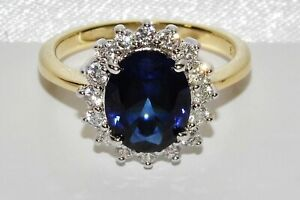 9ct Yellow Gold & Silver Blue Sapphire Princess Diana Ladies Cluster Ring size P
