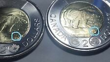 "2016 ""Rock"" above BT Variety/Error Polar Bear $2 Two Dollars Toonie Canada Coin"