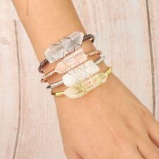 Natural Stone Clear Open Cuff Bracelet Wire Wrap Irregular Crystal Stones Bangle