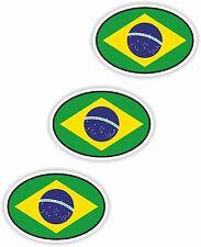 """3x Brazil Oval Flag Stickers (0.8""""x1.2"""") Bumper Helmet"""