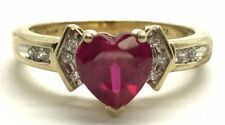 Sterling Silver Gold Tone Heart Pink Tourmaline - CZ Love Petite Cocktail Ring 7