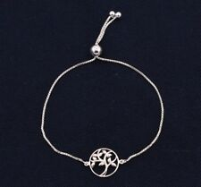 Tree of Life Disc Adjustable BRACELET 14K White Gold Clad Sterling Silver 925