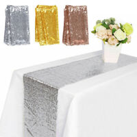 """12"""" x 72"""" Glitter Sequin Table Runner Tablecloth Wedding Party Table Supplies"""