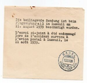 SWITZERLAND: Crash mail cover Luxeuil 1939, Envelope + form Basel. Scarce.