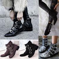 Womens Combat Military Boots Strap Buckle Ladies Fashion Punk Biker Shoes Size