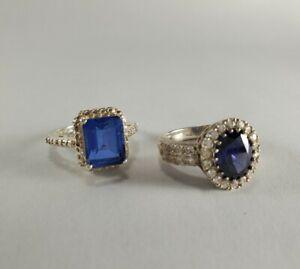 Set Of 2 Sterling Silver Blue Stone Rings: Kate Middleton/Princess Di