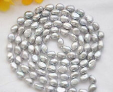 """New 34"""" 7-8MM SILVER GRAY Freshwater Baroque PEARL NECKLACE"""