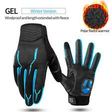 Winter Full Finger Cycle Gloves Fleece Thermal Windproof Bike Sport Gloves Blue