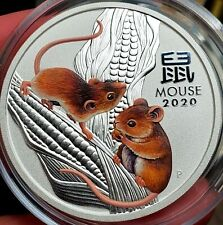 2020 Perth Mint 2 oz Silver Lunar Mouse Series III Colorized