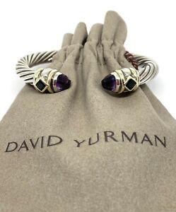 David Yurman 14 Kt Gold Sterling Silver Renaissance 7 MM Amethyst And Emerald