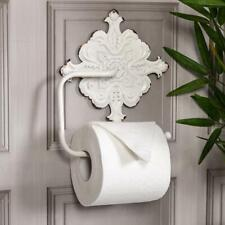 Antique White Toilet Roll Holder  Ornate Wall Shabby Vintage Chic Bathroom W/C