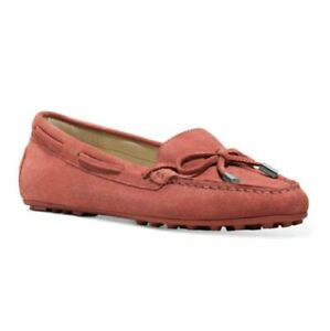 Michael Kors Daisy Moccasin Cinnamon Suede Leather Bow Rubber Outsole Loafer 5.5