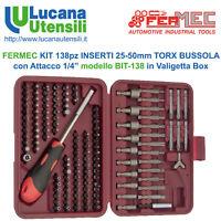 """FERMEC KIT 138pz INSERTI 25-50mm TORX BUSSOLA 1/4"""" modello BIT-138 in Valigetta"""