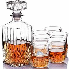 7 pc Crystal Glass Whisky Decanter With Tumblers Bar Christmas Gift Bar Spirits