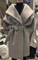 Womens Wool Blend Loose Bat Sleeves Lapel Belt Poncho Cloak Trench Outwear F19