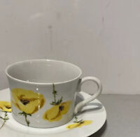 """Allegro Fine China """"LORETTA""""  Coffee Cup - Yellow Poppies Made in Japan"""
