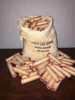 VINTAGE WHEAT PENNY ROLL OLD US COINS 1909-1958 OLD BROWN BANK WRAPPED  UNSEARC