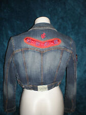 EUC - Womens Jrs Petite Rocawear Blue Jean Crop Jacket Long Sleeve- Size Large