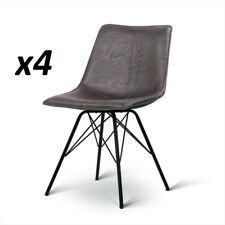 4 X Replica Eames DSW Dining Chairs PU Leather Bar Stool W/ Metal Legs Walnut
