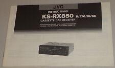 Manuale di istruzioni/operating instructions JVC autoradio ks-rx850 B/E/G/GI