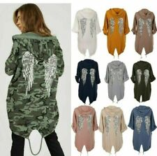 NEW Women Sequin Angel Wings Back Over-sized Hoodie Sweatshirt Jacket Cardigan
