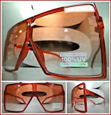 OVERSIZED VINTAGE RETRO SHIELD Style SUN GLASSES Large Square Red Frame & Lens